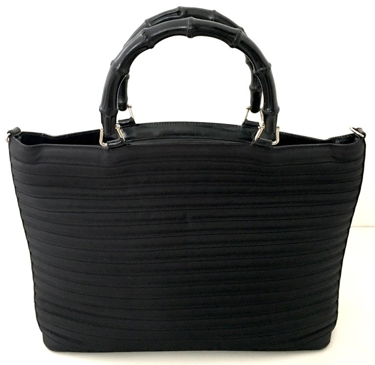 Black 80'S Gucci Soft Side Leather & Wood Bamboo Handle Large Tote Handbag For Sale