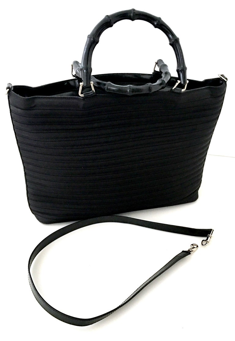 Women's or Men's 80'S Gucci Soft Side Leather & Wood Bamboo Handle Large Tote Handbag For Sale