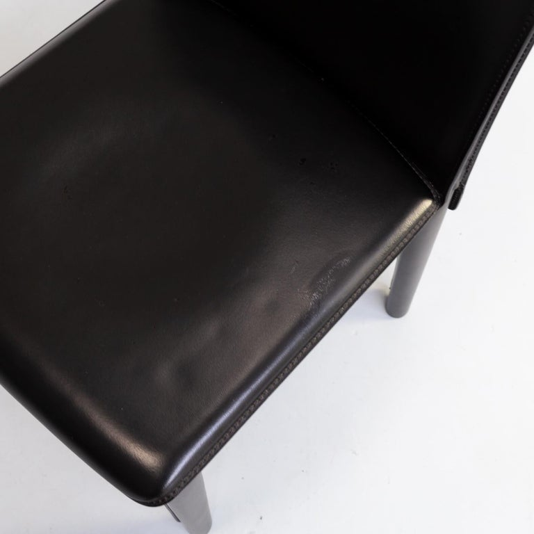 1980s Italian Design Leather Dining Chairs for Arper Set/6 For Sale 5
