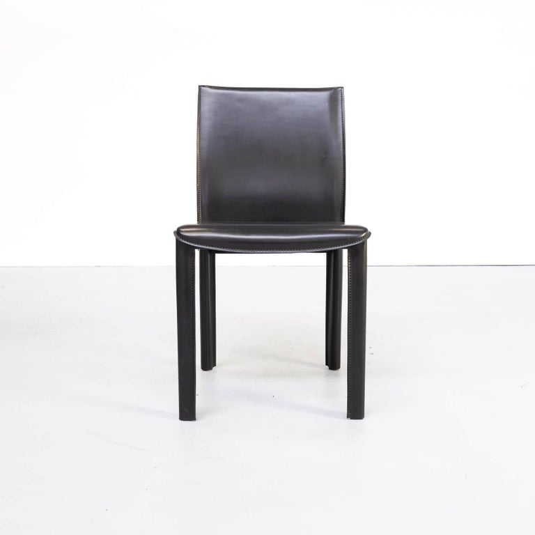 1980s Italian Design Leather Dining Chairs for Arper Set/6 For Sale 7