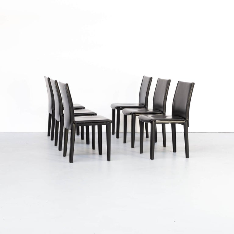 Mid-Century Modern 1980s Italian Design Leather Dining Chairs for Arper Set/6 For Sale