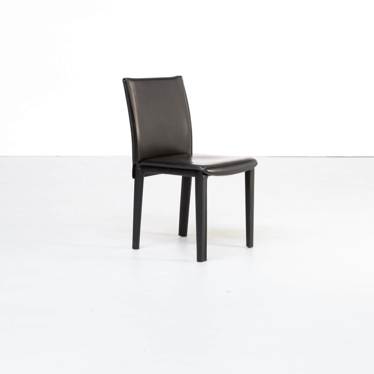 20th Century 1980s Italian Design Leather Dining Chairs for Arper Set/6 For Sale