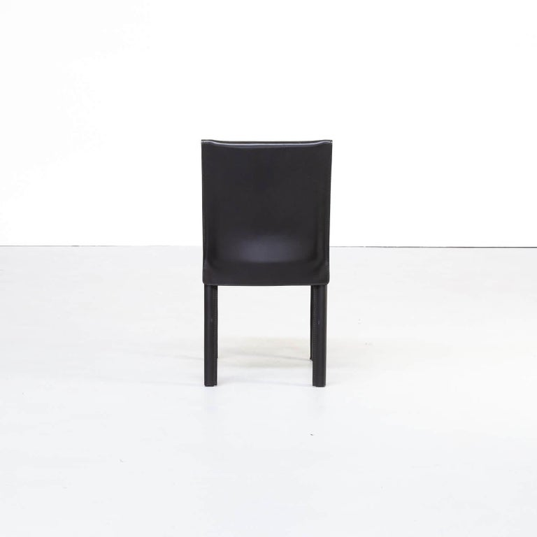 1980s Italian Design Leather Dining Chairs for Arper Set/6 For Sale 2