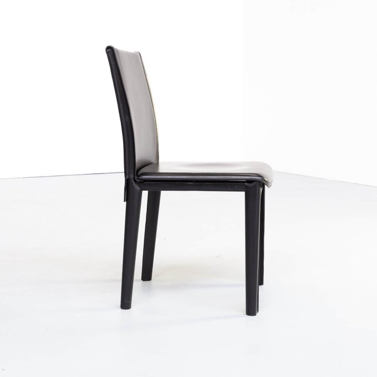 1980s Italian Design Leather Dining Chairs for Arper Set/6 For Sale 3