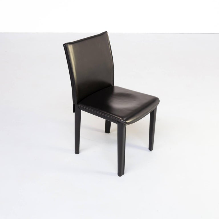 1980s Italian Design Leather Dining Chairs for Arper Set/6 For Sale 4