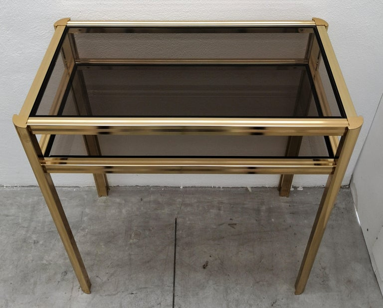 Italian 1980s Hollywood Regency Mid-Century Modern Brass and Smoked Glass Console For Sale