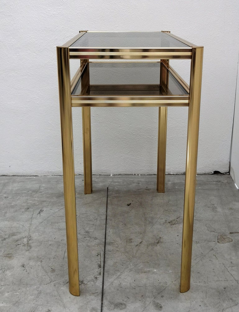1980s Hollywood Regency Mid-Century Modern Brass and Smoked Glass Console For Sale 2