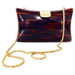 80'S Italian Lucite Faux Tortoise & Gilt Gold Handbag By, Jordan Marsh