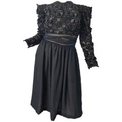 80s Kevan Hall Couture Size 10 Black Sequin Off Shoulder Vintage Cocktail Dress