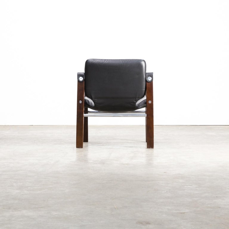 Leather 1980s Maurice Burke 'Safari' Lounge Chair for Arkana For Sale