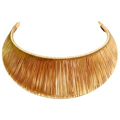 80'S Modernist Napier Style Gold Plate Wire Collar Dimensional Choker Necklace