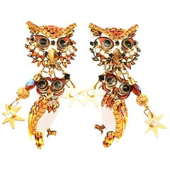 "80'S Pair Of Gold Plate & Swarovski Crystal ""Owl"" Earrings By, Lunch At The Ritz"