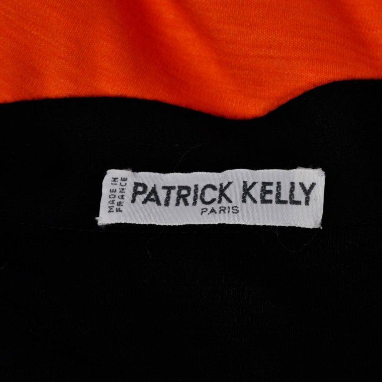 80s Patrick Kelly Dress Vintage Color Block Orange & Black Jersey w/ Flounce Hem For Sale 6