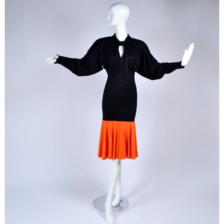 80s Patrick Kelly Dress Vintage Color Block Orange & Black Jersey w/ Flounce Hem In Excellent Condition For Sale In Portland, OR