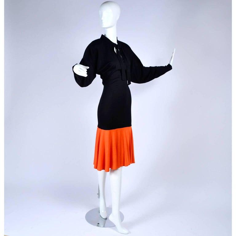 80s Patrick Kelly Dress Vintage Color Block Orange & Black Jersey w/ Flounce Hem For Sale 1