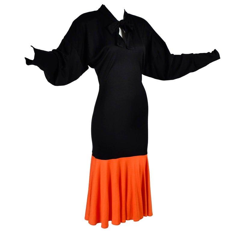 80s Patrick Kelly Dress Vintage Color Block Orange & Black Jersey w/ Flounce Hem For Sale 2