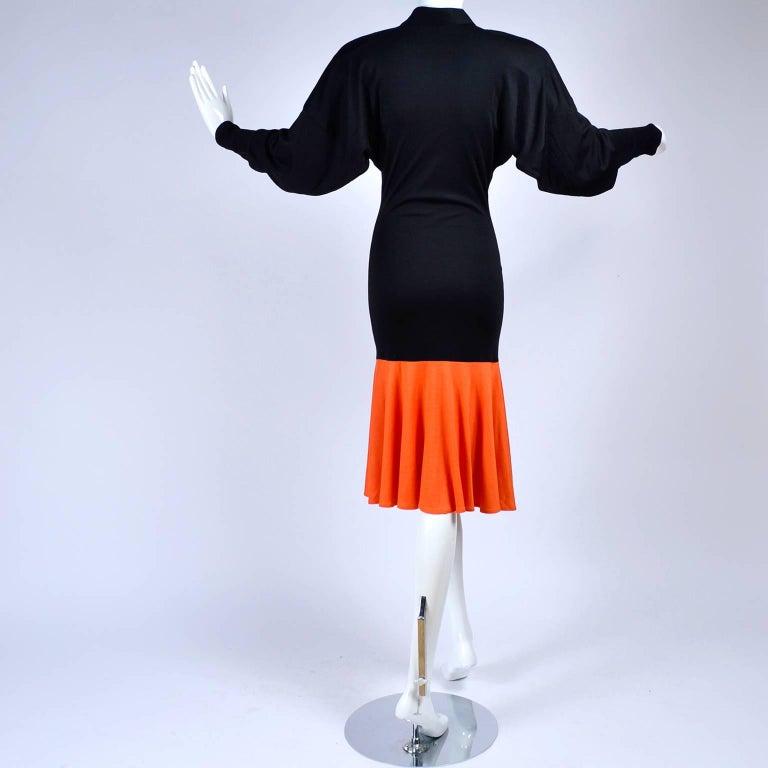 80s Patrick Kelly Dress Vintage Color Block Orange & Black Jersey w/ Flounce Hem For Sale 3