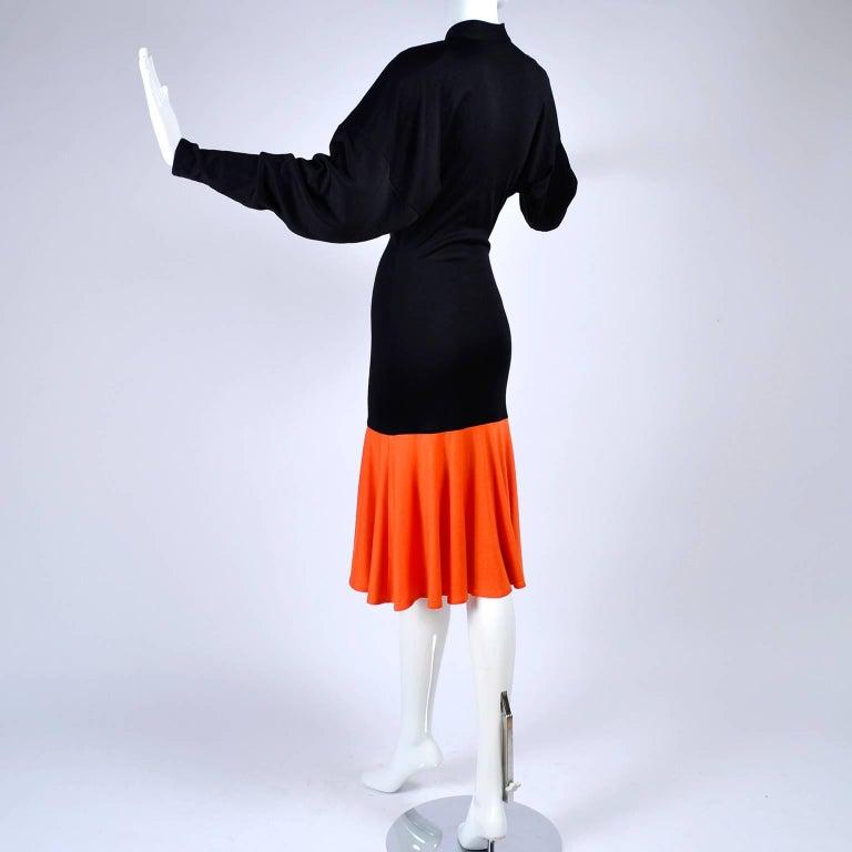 80s Patrick Kelly Dress Vintage Color Block Orange & Black Jersey w/ Flounce Hem For Sale 4