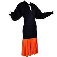80s Patrick Kelly Dress Vintage Color Block Orange & Black Jersey w/ Flounce Hem