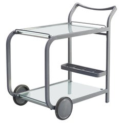 80s Postmodern Metal and Glass Serving Trolley