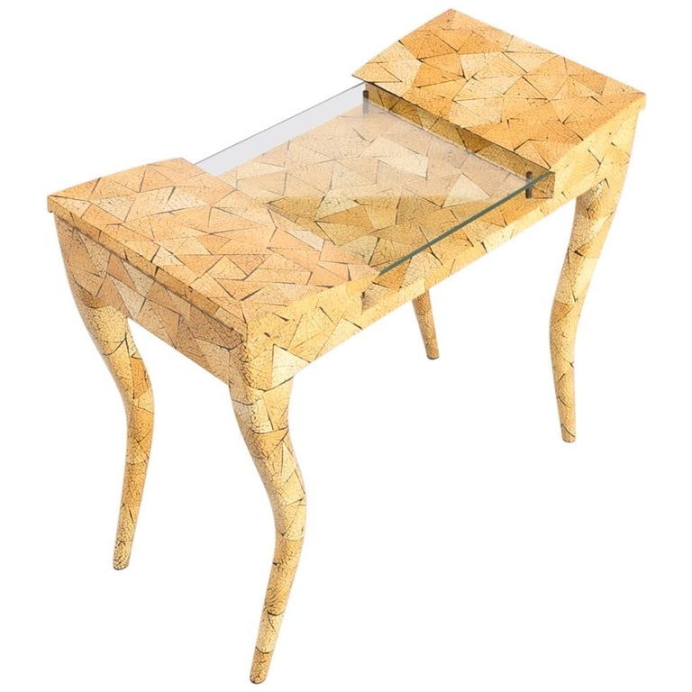 1980s R & Y Augousti Coconut Shell Inlay Side Table For Sale