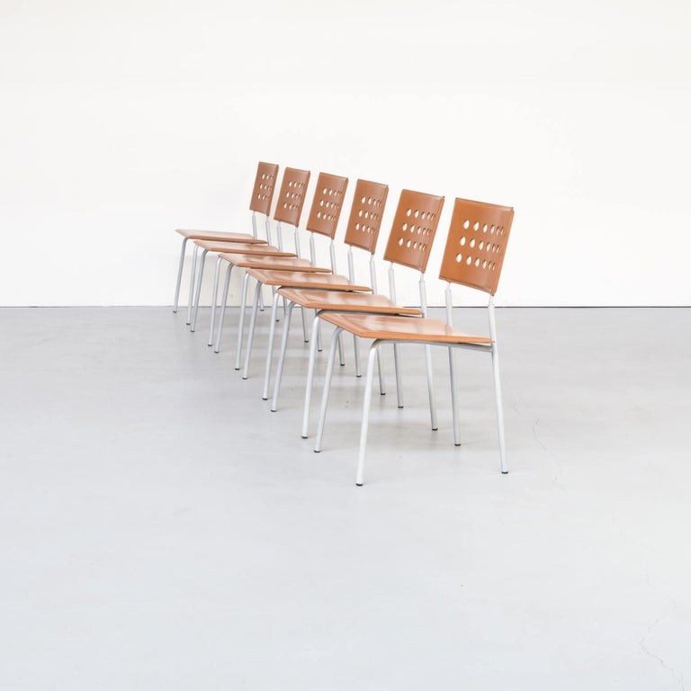 Unique and rare set of dining chair by LaPalma, from the late 1980s when LaPalma was changing their focus on seating furniture. Good condition consistent with age and use.
