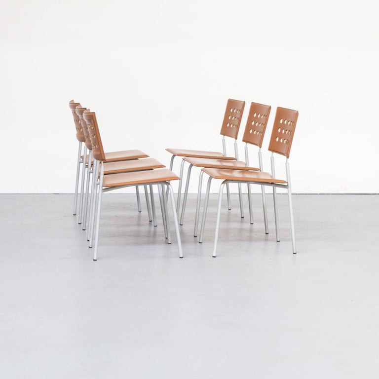 Mid-Century Modern 1980s Rare Dining Room Chair for LaPalma Set of 6 For Sale