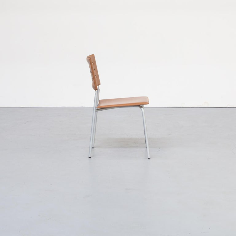 Leather 1980s Rare Dining Room Chair for LaPalma Set of 6 For Sale