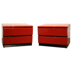 1980s Red Lacquered Nightstands by Roger Rougier