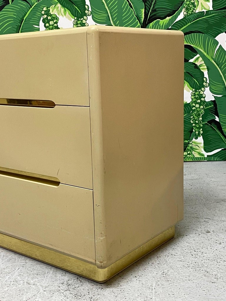 American 80s Seven Drawer Brass Plinth Dresser by Lane For Sale