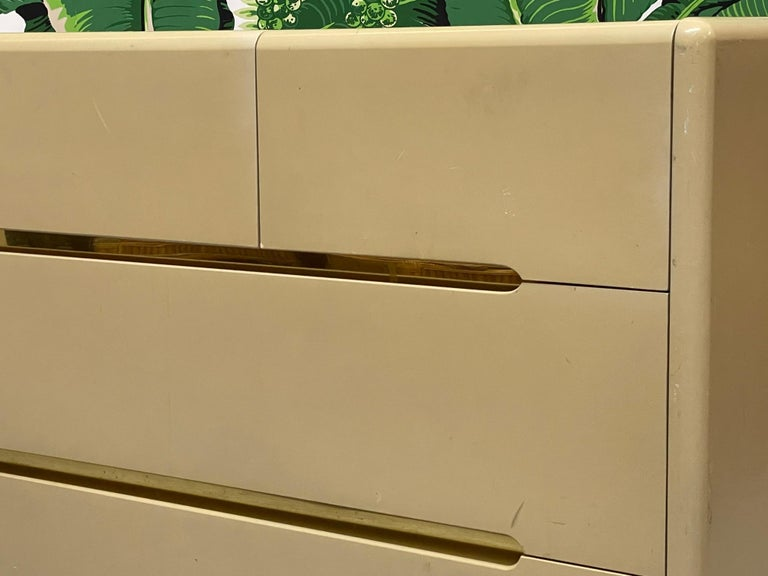 Late 20th Century 80s Seven Drawer Brass Plinth Dresser by Lane For Sale