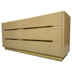 80s Seven Drawer Brass Plinth Dresser by Lane