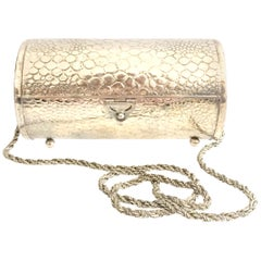 """80'S Silver Plate """"Tootsie Roll"""" Box Evening Bag By, Morris Moscowitz"""