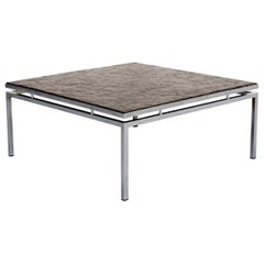 1980s Square Chromed Metal Framed Coffee Table with Slate Worktop