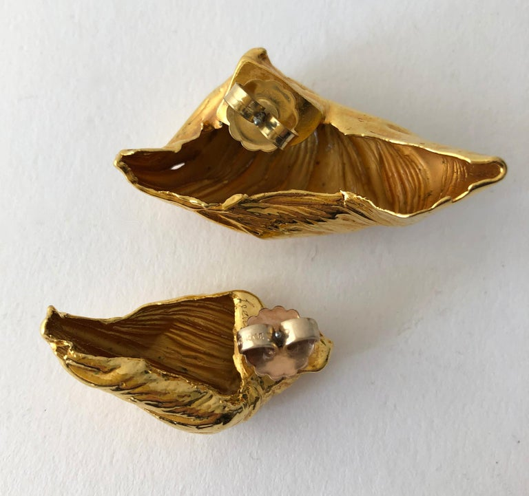 80s Stanley Lechtzin Sterling Silver Gold Electroplate Sterling Silver Earrings In Good Condition For Sale In Los Angeles, CA