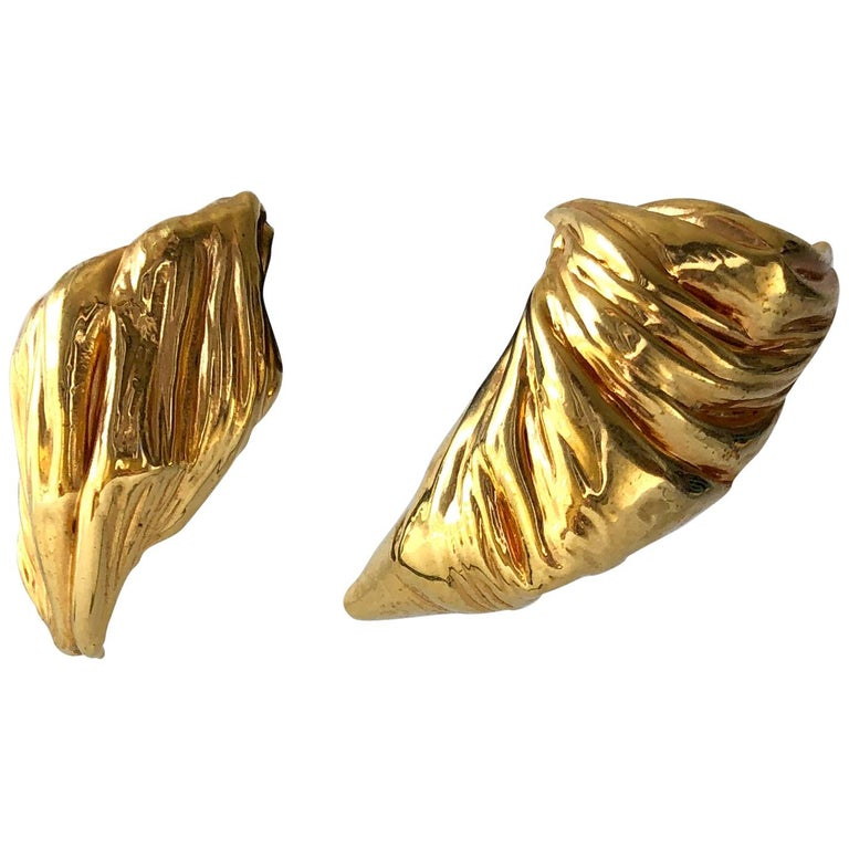 80s Stanley Lechtzin Sterling Silver Gold Electroplate Sterling Silver Earrings For Sale