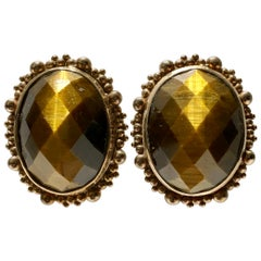 80'S Stephen Dweck Sterling 925 Silver Vermeil and Tiger's Eye Earring