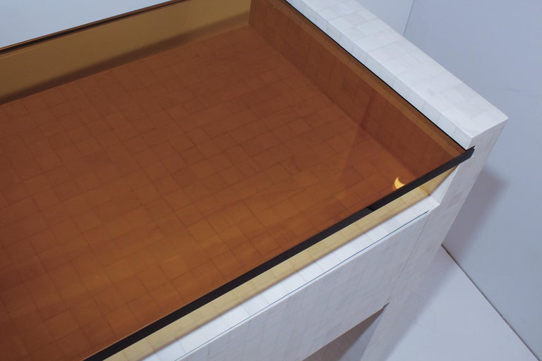 Late 20th Century 1980s Tessellated Bone Console with Amber Glass Top For Sale