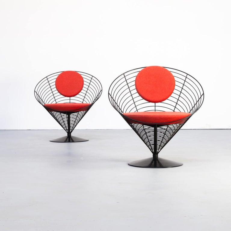 Danish 1980s Verner Panton Cone Chair for Fritz Hansen, Set of 2 For Sale