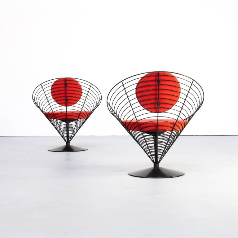 Metal 1980s Verner Panton Cone Chair for Fritz Hansen, Set of 2 For Sale
