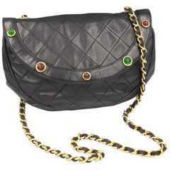 80's Vintage Chanel Black Quilted Bag with Gripoix Style Stones