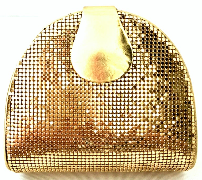 80'S Whiting & Davis Gold Metal Mesh & Leather Hand Bag In Good Condition For Sale In West Palm Beach, FL