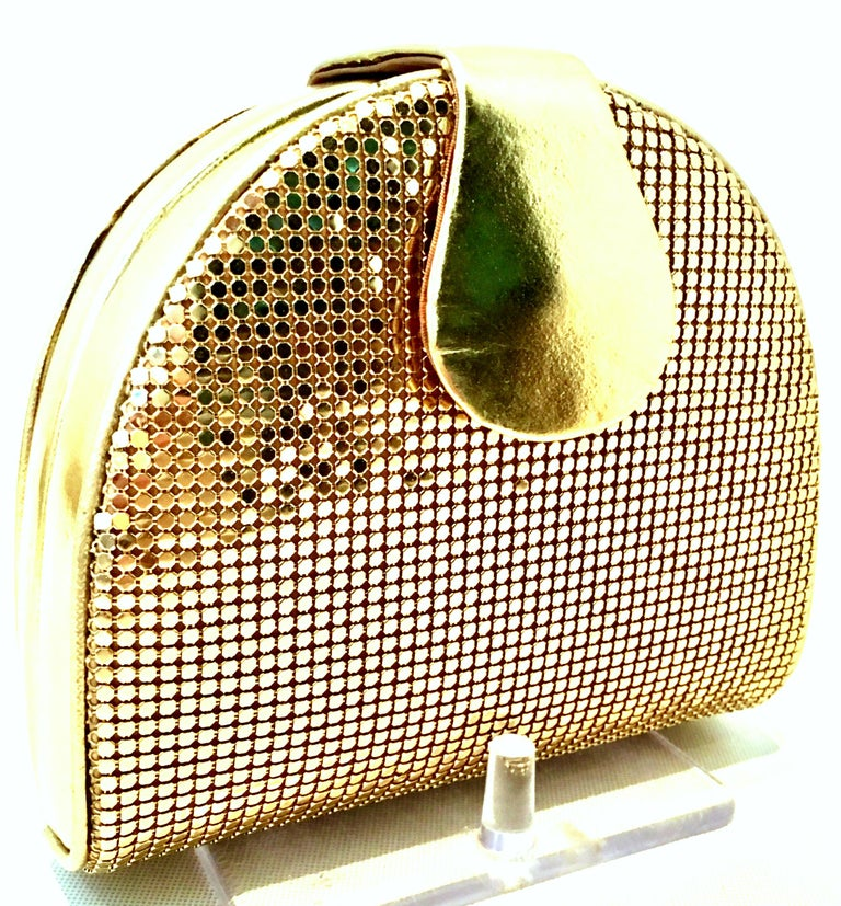 Women's or Men's 80'S Whiting & Davis Gold Metal Mesh & Leather Hand Bag For Sale