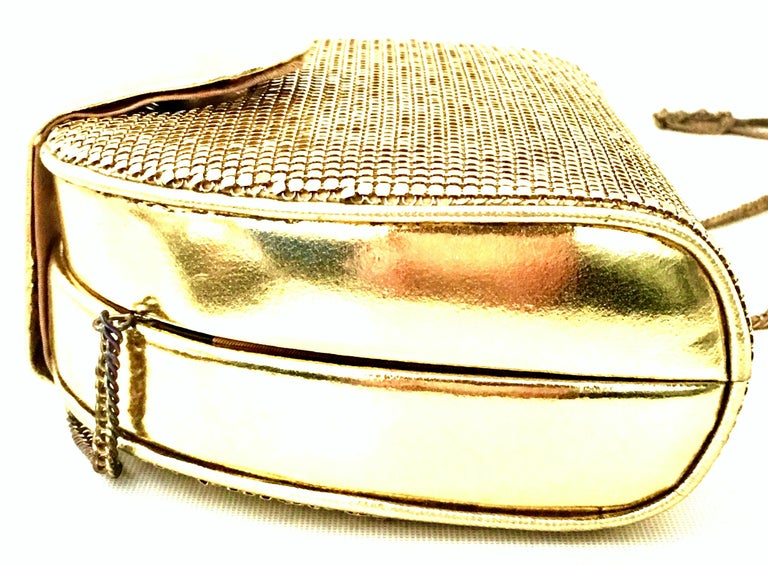 80'S Whiting & Davis Gold Metal Mesh & Leather Hand Bag For Sale 4