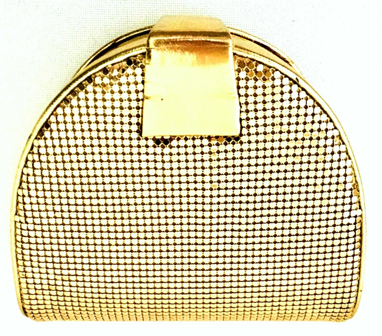 80'S Whiting & Davis Gold Metal Mesh & Leather Hand Bag For Sale 2
