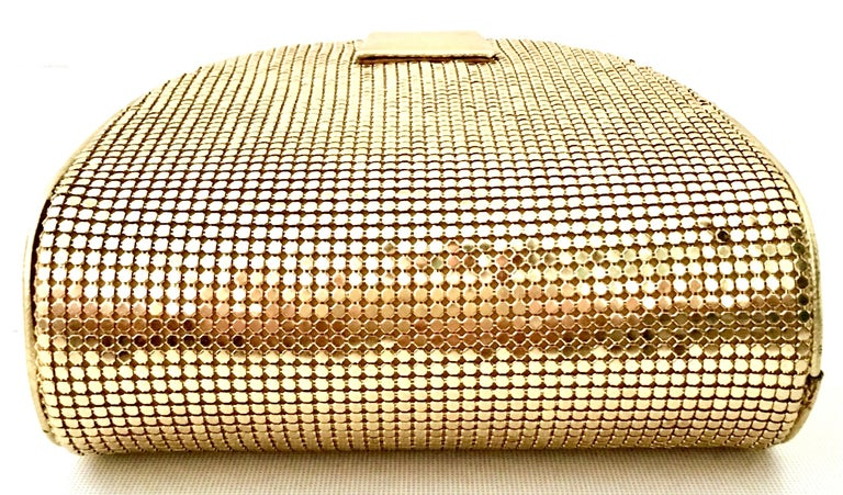 80'S Whiting & Davis Gold Metal Mesh & Leather Hand Bag For Sale 3
