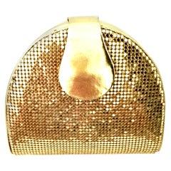 80'S Whiting & Davis Gold Metal Mesh & Leather Hand Bag