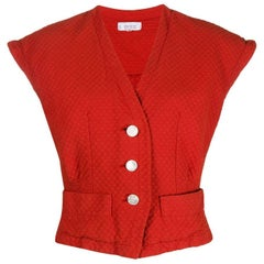 80s Yves Saint Laurent Brick Red V-neck Vest