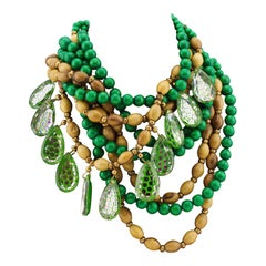 80's Yves Saint Laurent Rive Gauche Green & Brown Multi Strand Beaded Necklace