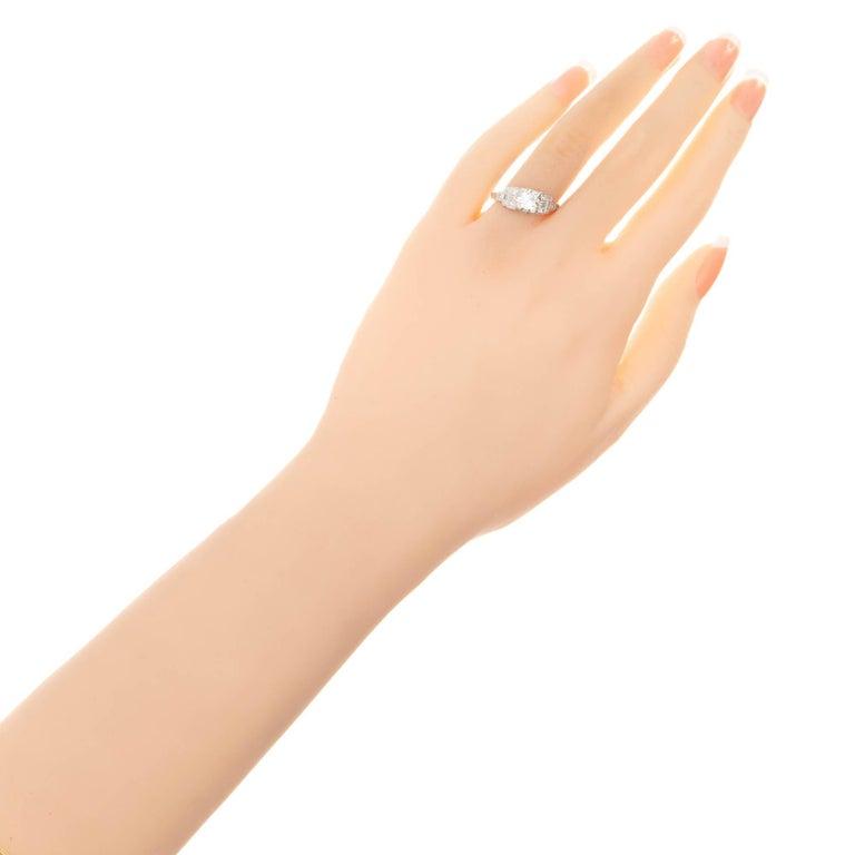 Women's .81 Carat Diamond Cushion Cut Art Deco Platinum Engagement Ring For Sale